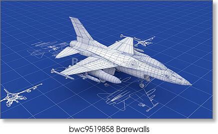Art print of jet fighter aircraft blueprint barewalls posters art print of jet fighter aircraft blueprint malvernweather Choice Image