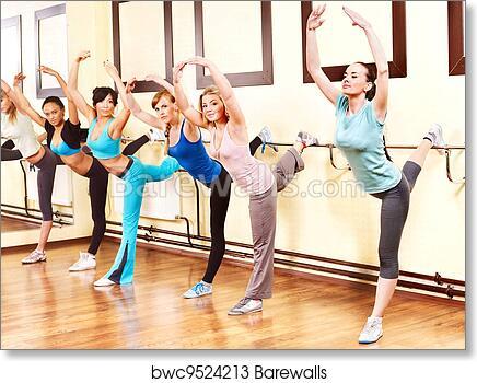 art print of women in aerobics class barewalls posters prints
