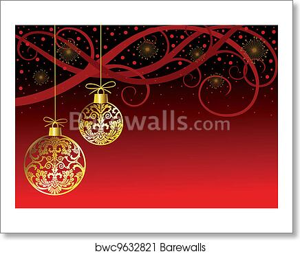 Hanging Christmas Ornaments Silhouette.Christmas Ornaments Balls On Red Art Print Poster