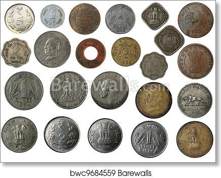New and old indian coins in silver, copper, brass art print poster