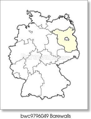 Map Of Germany Brandenburg Highlighted Art Print Barewalls