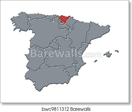 Basque Map Of Spain.Map Of Spain Basque Country Highlighted Art Print Poster