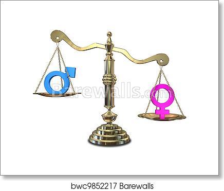 Art Print Of Gender Inequality Balancing Scale Barewalls Posters