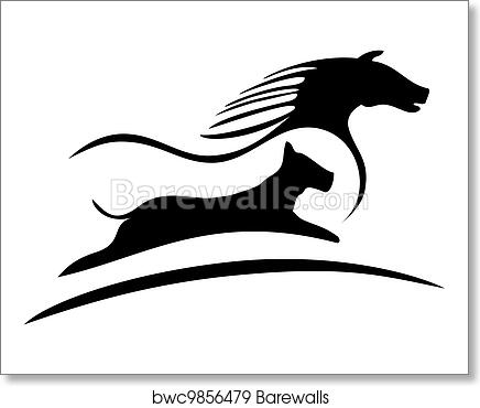 Art Print Of Horse And Dog Logo Silhouette Barewalls Posters