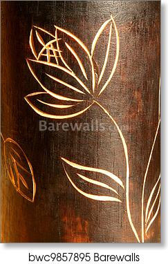 Art Print Of Wood Teak Texture With Carving Flower