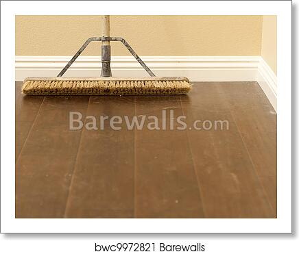 Art Print Of Push Broom On A Newly Installed Laminate Floor And