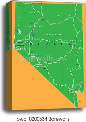 Political Map Of Nevada.Canvas Print Of State Of Nevada Political Map Barewalls Posters