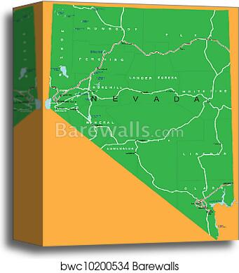 Canvas Print Of State Of Nevada Political Map Barewalls Posters