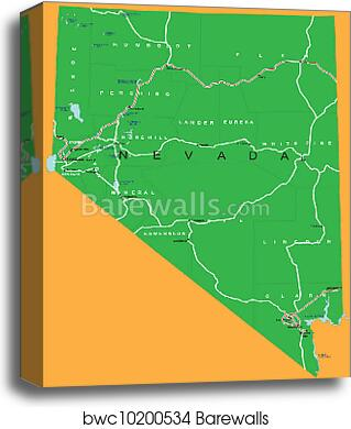 State of Nevada political map canvas print on state of nevada history, nevada county map, state of virginia map, las vegas nevada state map, state parks in nv, district of columbia political map, state of florida political map, state of nevada symbols,