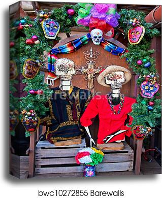 Mexican Christmas Decorations.Mexican Christmas Dead Decorations Old San Diego Town California Canvas Print