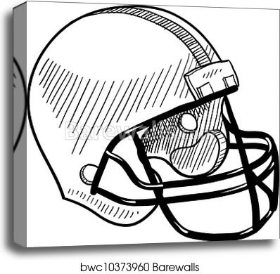 picture regarding Printable Football Helmet known as Soccer helmet sketch canvas print