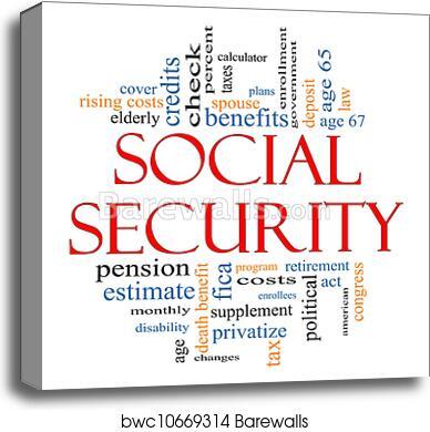 Social Security Word Cloud Concept canvas print