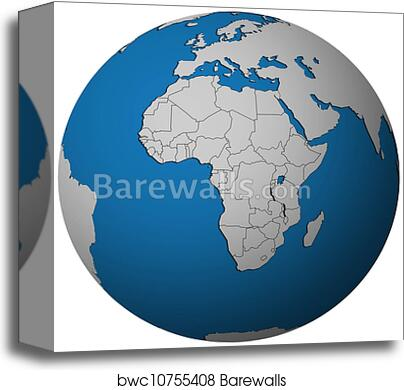 Map Of Africa From Space.Political Map Of Africa On Globe Map Canvas Print