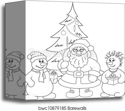 santa claus christmas tree and snowmans outline canvas print barewalls posters prints bwc10879185 santa claus christmas tree and snowmans outline canvas print