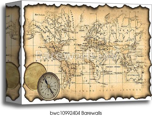 Canvas print of ancient map of the world compass barewalls canvas print of ancient map of the world compass gumiabroncs Choice Image