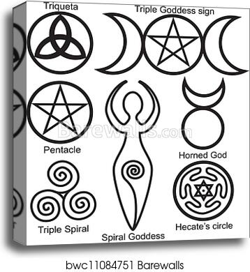 Canvas Print Of Set Of The Wiccan Symbols Barewalls Posters