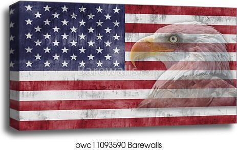 Canvas Print Of American Flag And Patriotic Symbols Barewalls