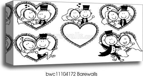 Wedding Invite Funny Frames Set Canvas Print Barewalls Posters Prints Bwc11104172