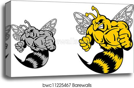 Canvas Print Of Angry Hornet Or Yellow Jacket Mascot Barewalls