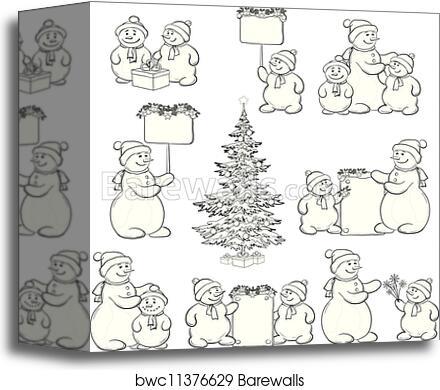 set snowman and christmas tree outline canvas print barewalls posters prints bwc11376629 set snowman and christmas tree outline canvas print
