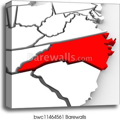 United States Map North Carolina.Canvas Print Of North Carolina Red Abstract 3d State Map United