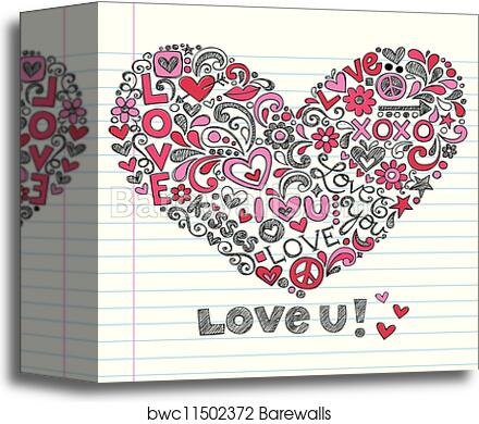 Valentine S Day Love Heart Doodle Canvas Print Barewalls Posters Prints Bwc11502372 Hope you will love it. valentine s day love heart doodle canvas print