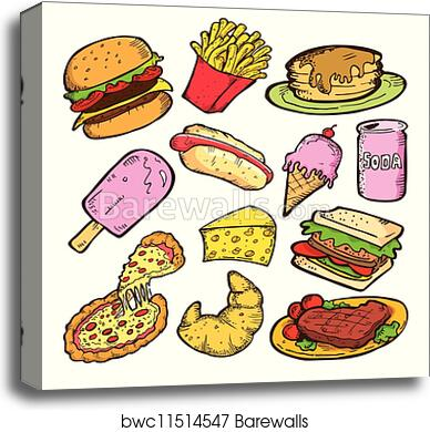 Cheeseburger Meal Food 3.2 A Wall Art Canvas Picture Print