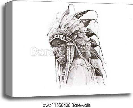Tattoo Sketch Of Native American Indian Warrior Hand Made Canvas
