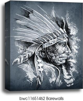 Sketch Of Tattoo Art Native American Indian Head Chief Dirty