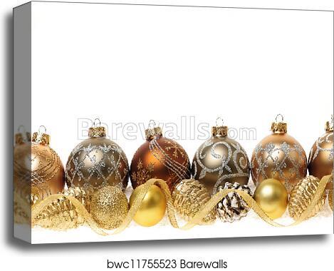 Golden Christmas Ornaments Border Canvas Print
