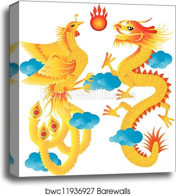 Canvas Print Of Dragon And Phoenix With Clouds Illustration