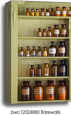 Canvas Print Of Old Apothecary Cabinet With Storage Jars | Barewalls  Posters U0026 Prints | Bwc12024880