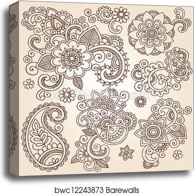 Canvas Print Of Henna Flower Tattoo Design Elements Barewalls