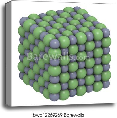 Sodium chloride (NaCl, table salt), crystal structure canvas print