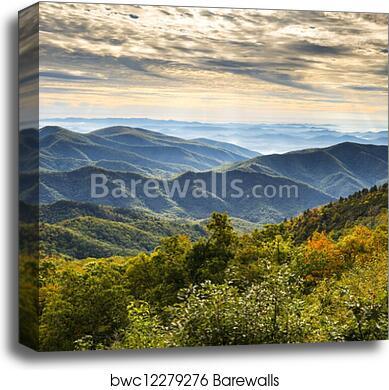 Blue Ridge Parkway National Park Sunrise Scenic Mountains Autumn Landscape Near Asheville Nc In Western North Carolina Canvas Print