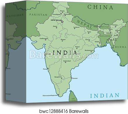 Canvas Print of Map of India | Barewalls Posters & Prints | bwc12888416