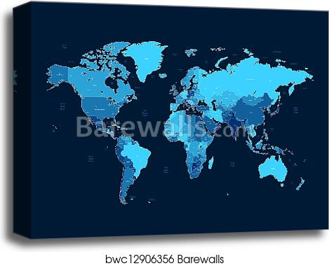 Dark blue detailed World map, Canvas Print | Barewalls Posters ... Detailed World Maps on