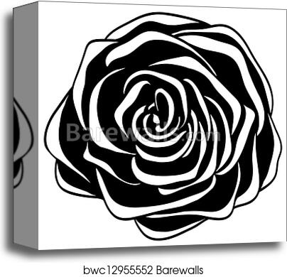 Abstract Black And White Rose Canvas Print