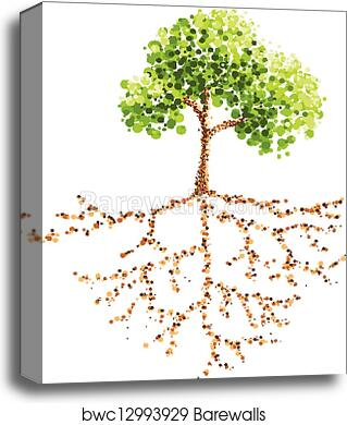 Dot Painting Tree And Root Canvas Print Barewalls Posters