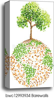Dot Painting Tree On Earth Canvas Print Barewalls Posters