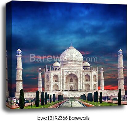 INDIA TAJ MAHAL PALACE BLACK WHITE Poster Travel Canvas art Prints