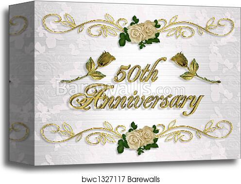 canvas print of 50th anniversary invitation barewalls posters