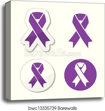 Canvas Print Of Purple Ribbon Pancreatic Cancer Barewalls