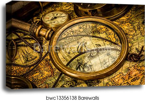 Old World Map Canvas.Canvas Print Of Vintage Magnifying Glass Lies On An Ancient World