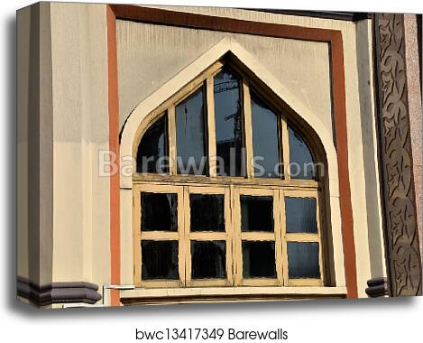 Wooden arch window at mosque canvas print