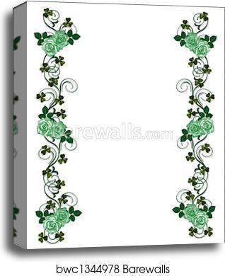 St Patricks Day Shamrocks and roses canvas print