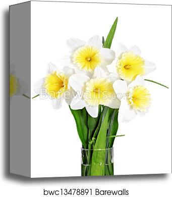 Canvas Print Of Beautiful Spring Flowers In Vase Yellow White