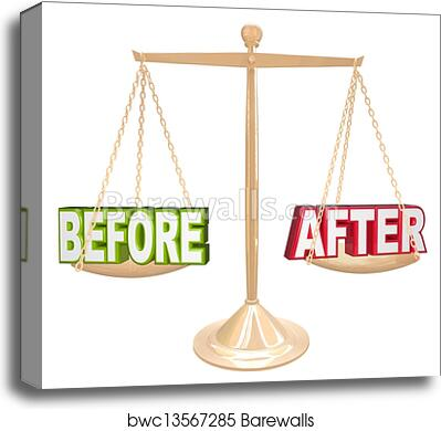 Before and After Words Scale New Results Time Comparison canvas print