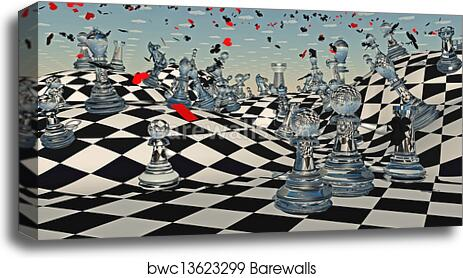 Fantasy Chess set Canvas Wall Art Picture Print