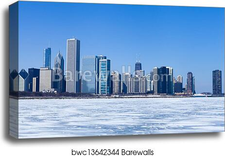 Poster Panorama Winter Chicago Skyline Panoramic Fine Art Black and White Print